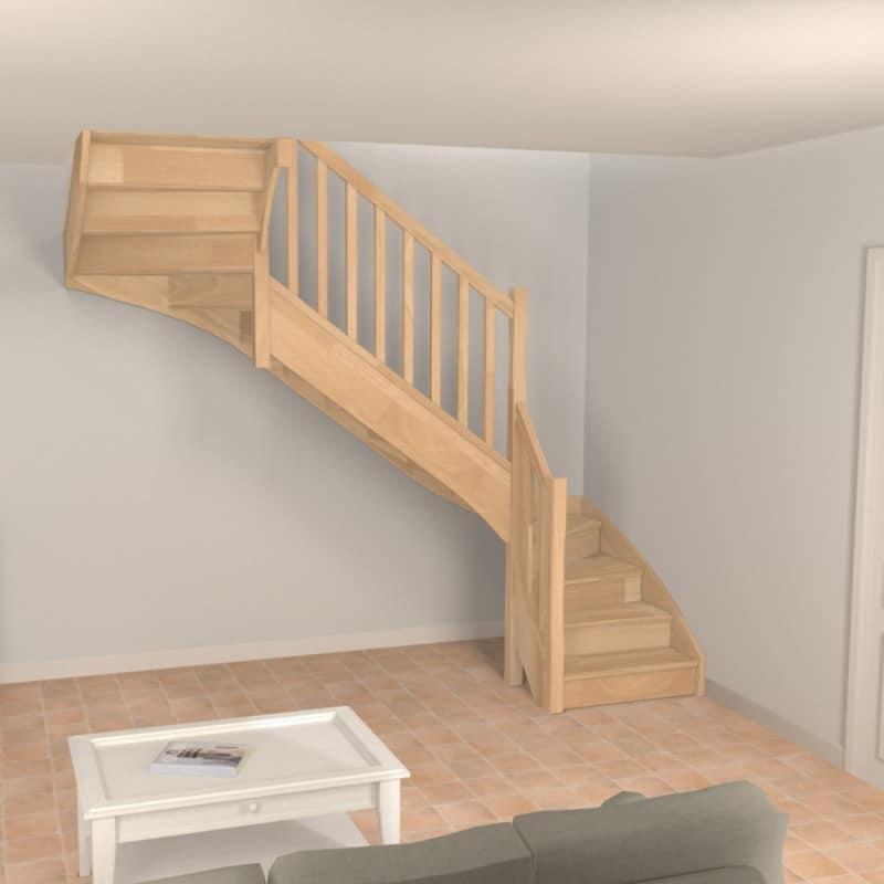 escalier à double quart tournant en bois