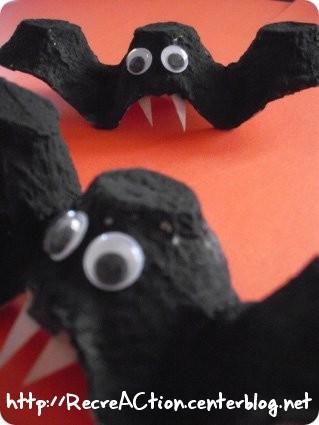 chauve souris boite oeuf DIY Halloween