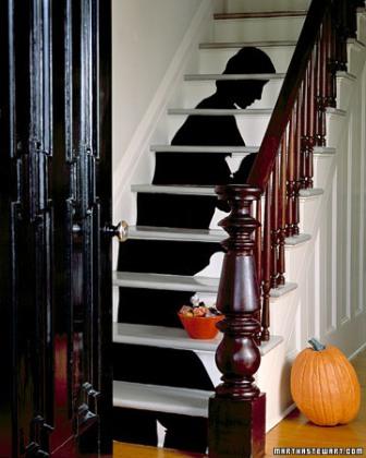 silhouette papier découpé escalier halloween