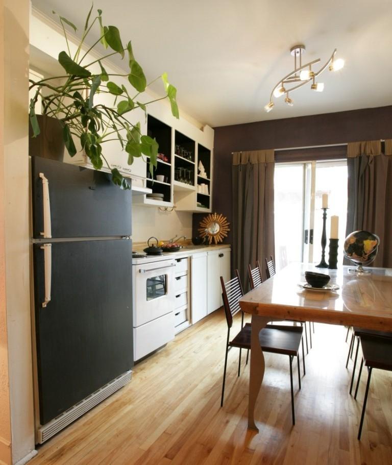 cuisine frigo peint en noir