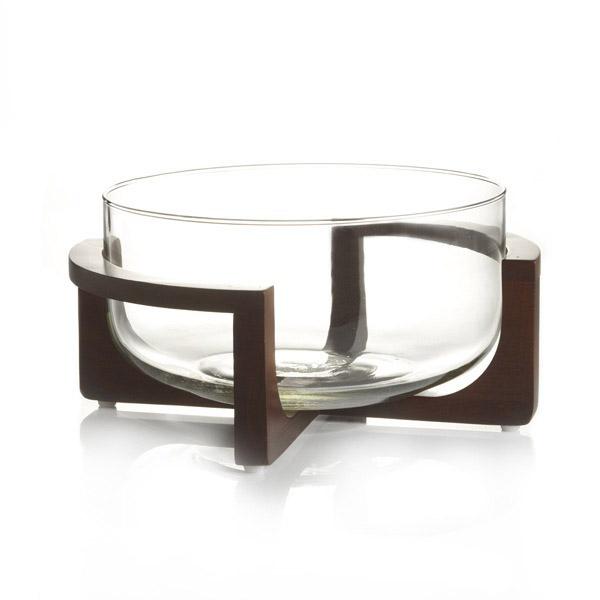 Bol en verre avec support en bois -BOUCLAIR - 19.99$