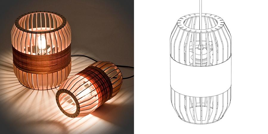 Crédit photo: Atelier D - lampes en lattes de bois