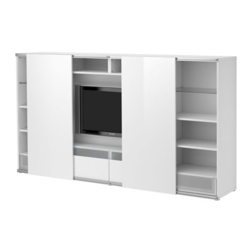 Solutions pour cacher la t l d conome for Meuble tv porte coulissante ikea