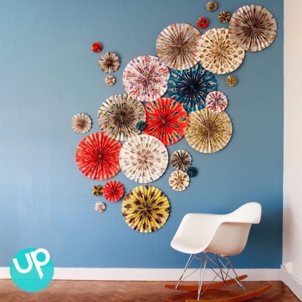 d co murale facile avec feuilles de papier d conome. Black Bedroom Furniture Sets. Home Design Ideas