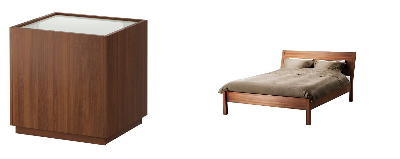 Table de nuit et lit NYVOLL - IKEA