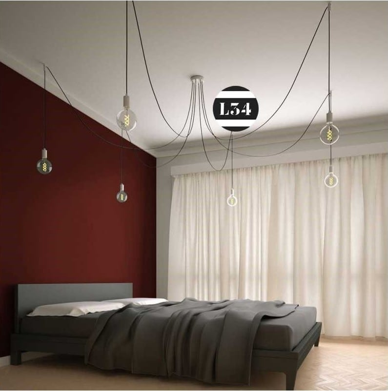 elegant suspension decentre plusieurs fils with eclairage fil tendu. Black Bedroom Furniture Sets. Home Design Ideas