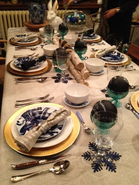 table noel bleu