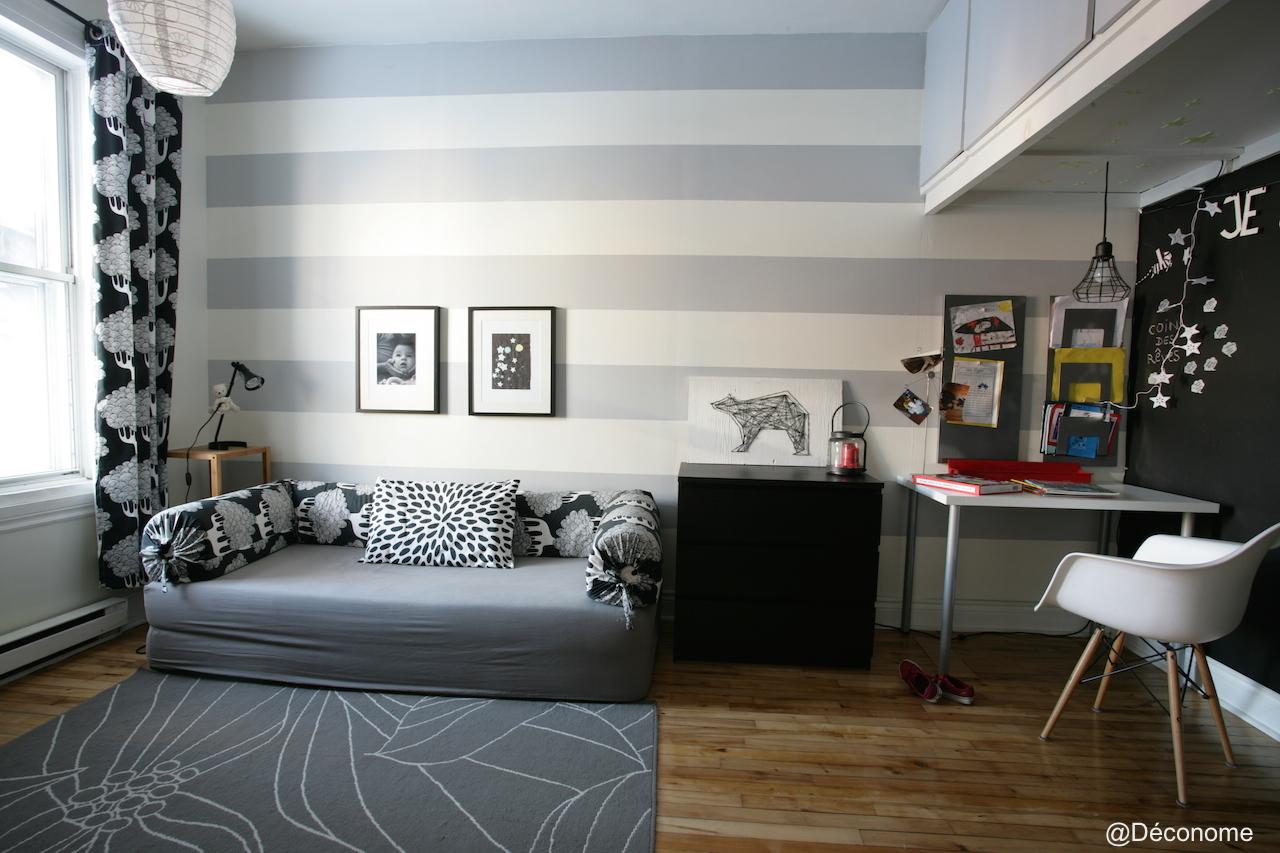 chambre enfant rayures gris et blanc