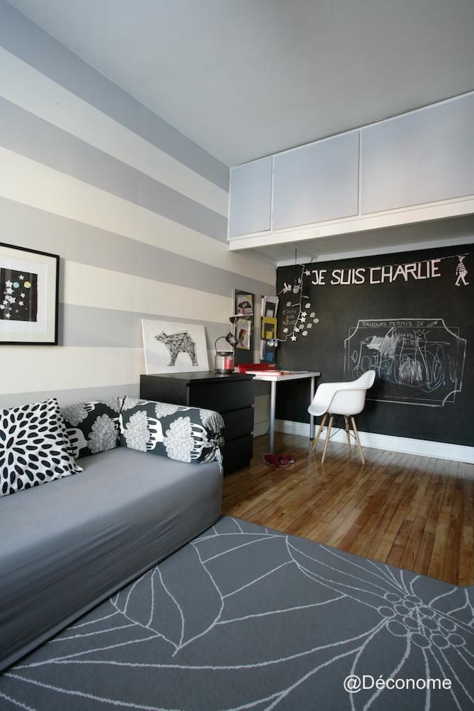 rayure mur gris et blanc