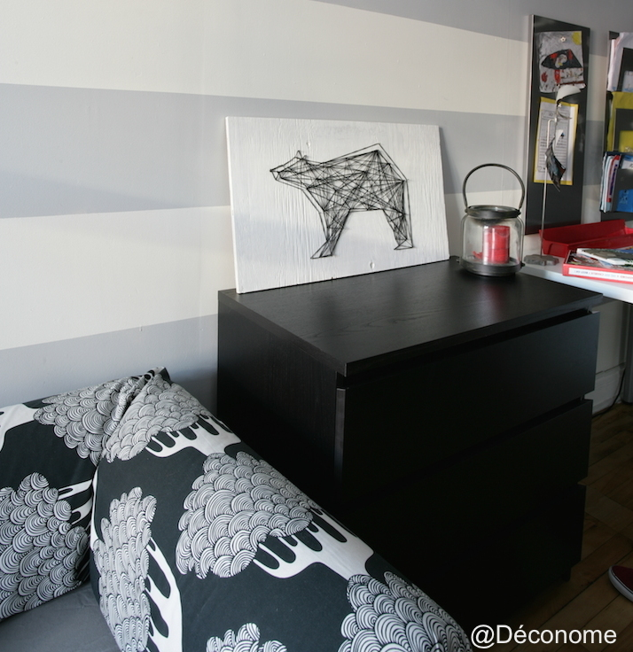 diy un tableau d 39 ours avec de la laine et des clous d conome. Black Bedroom Furniture Sets. Home Design Ideas