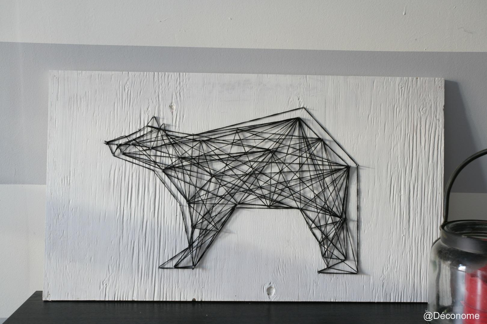 diy un tableau d 39 ours avec de la laine et des clous. Black Bedroom Furniture Sets. Home Design Ideas