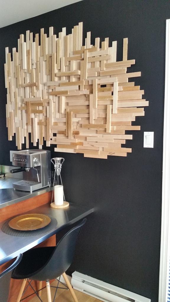 déco murale bois languette collé DIY / DIY wall decor with kindling