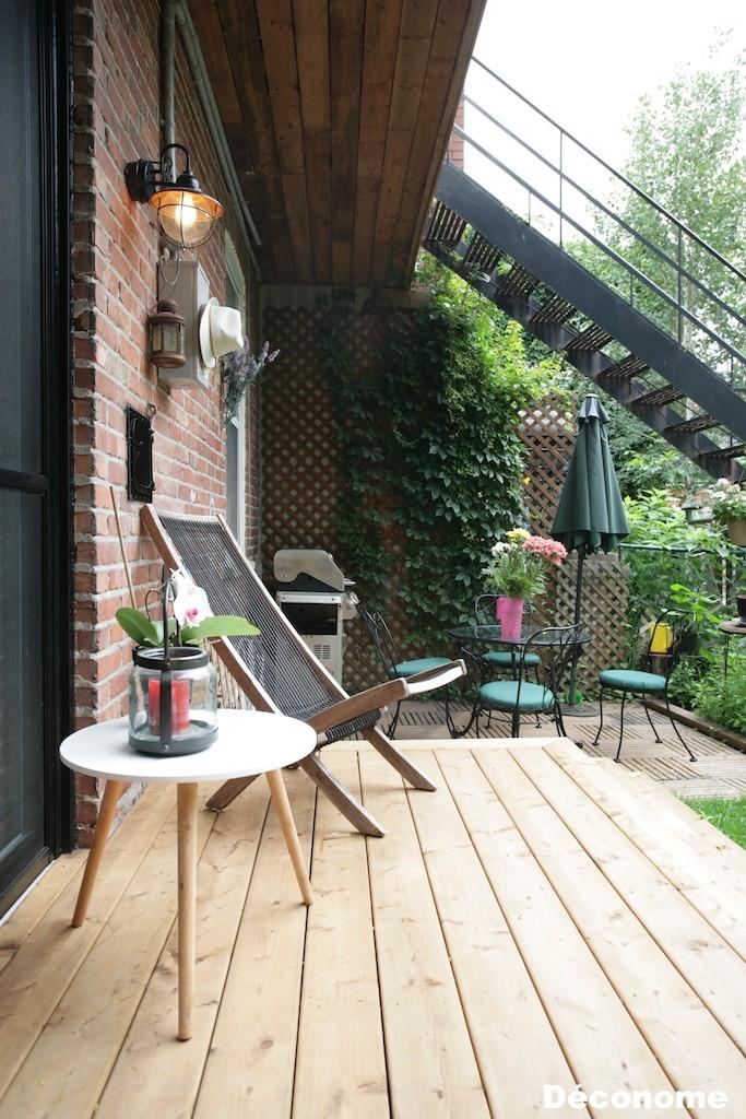 patio bois traité brun