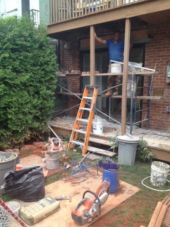 rebriquetage porte patio