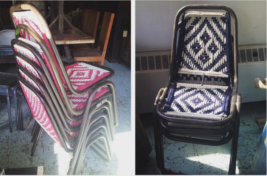 chaise métal et macramé