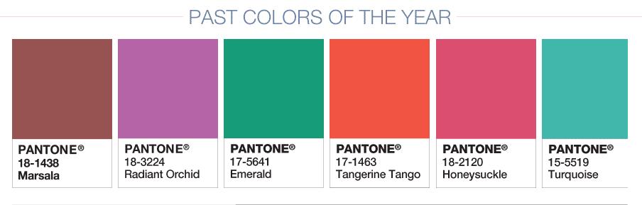 les couleurs de l'année de Pantone