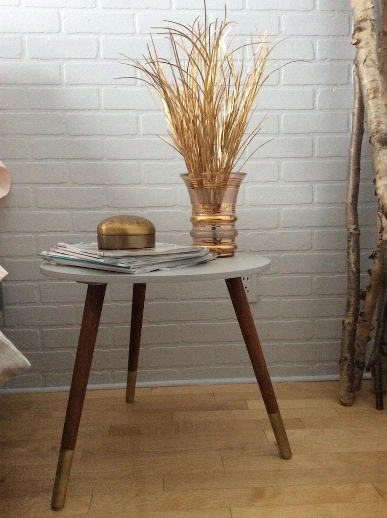 table basse pattes peintes doré