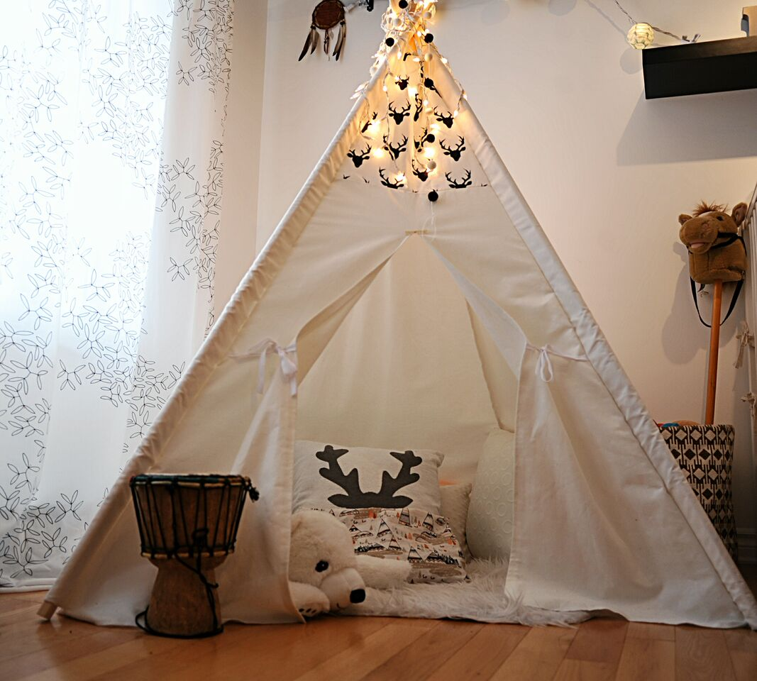 avant apr s une chambre de b b vintage boh me avec un tipi d conome. Black Bedroom Furniture Sets. Home Design Ideas