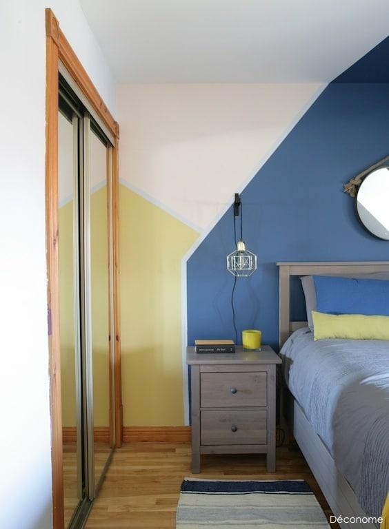 formes géométriques peinture bleu jaune rose