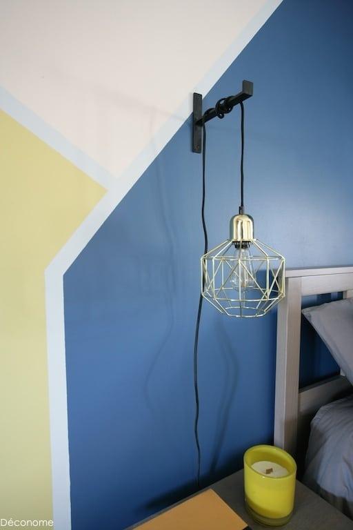 Lampe baladeuse or table de chevet - objet déconome équerre en fonte en forme de T