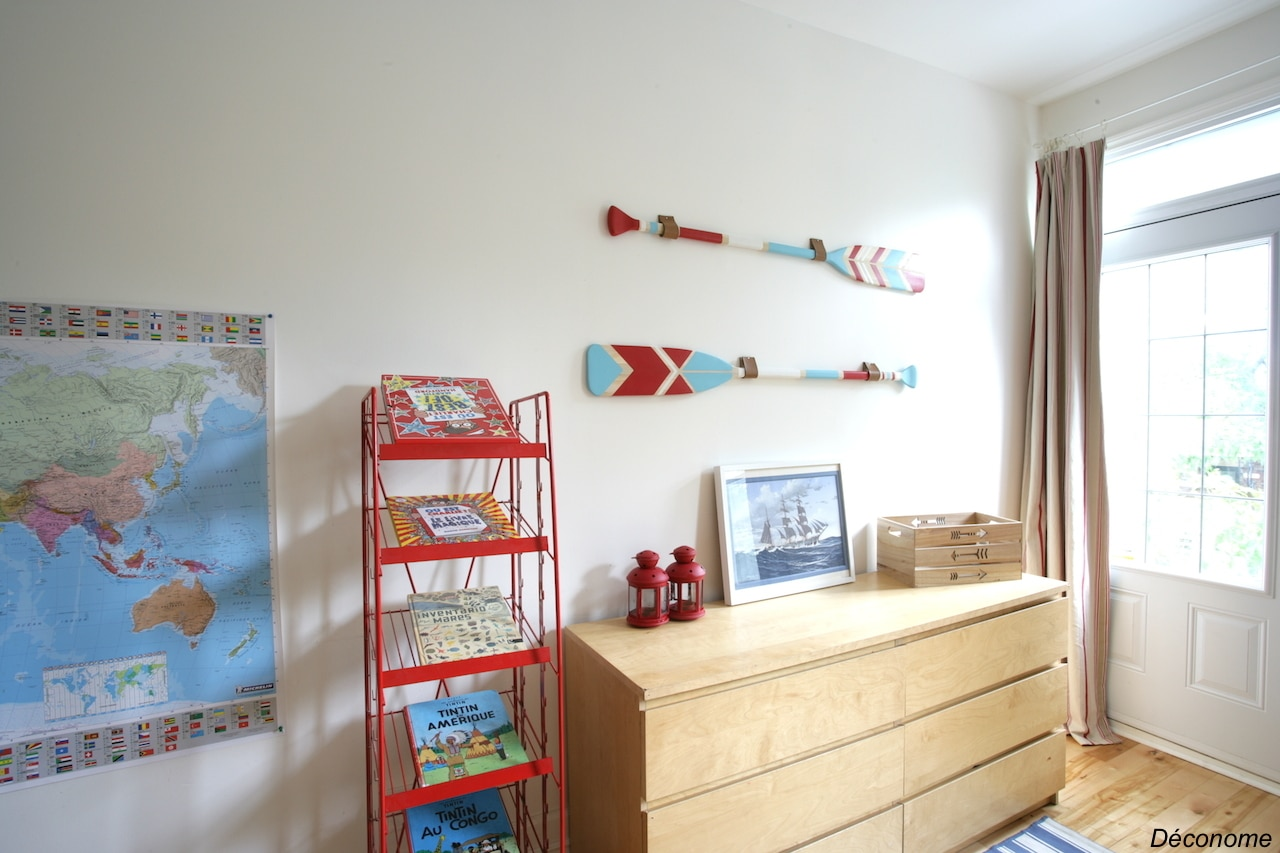 DIY rame pagaie peinte décoration murale bois