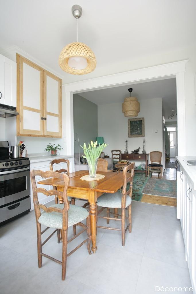 Rénovation cuisine pas cher sol vinyle armoires repeintures