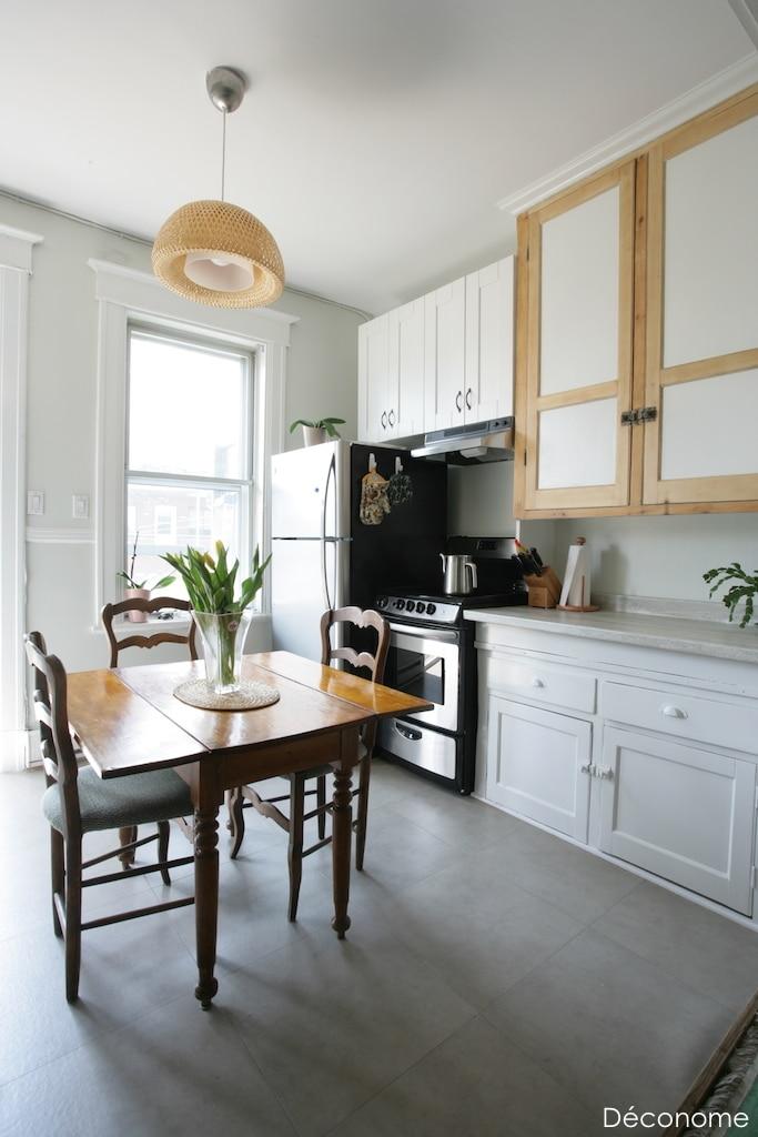 Rénovation appartement locatif sol en vinyle, peinture d'armoires