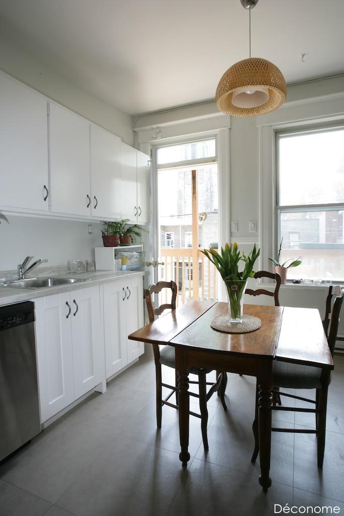 Rénovation cuisine comptoirs mélamine sol vinyle texline