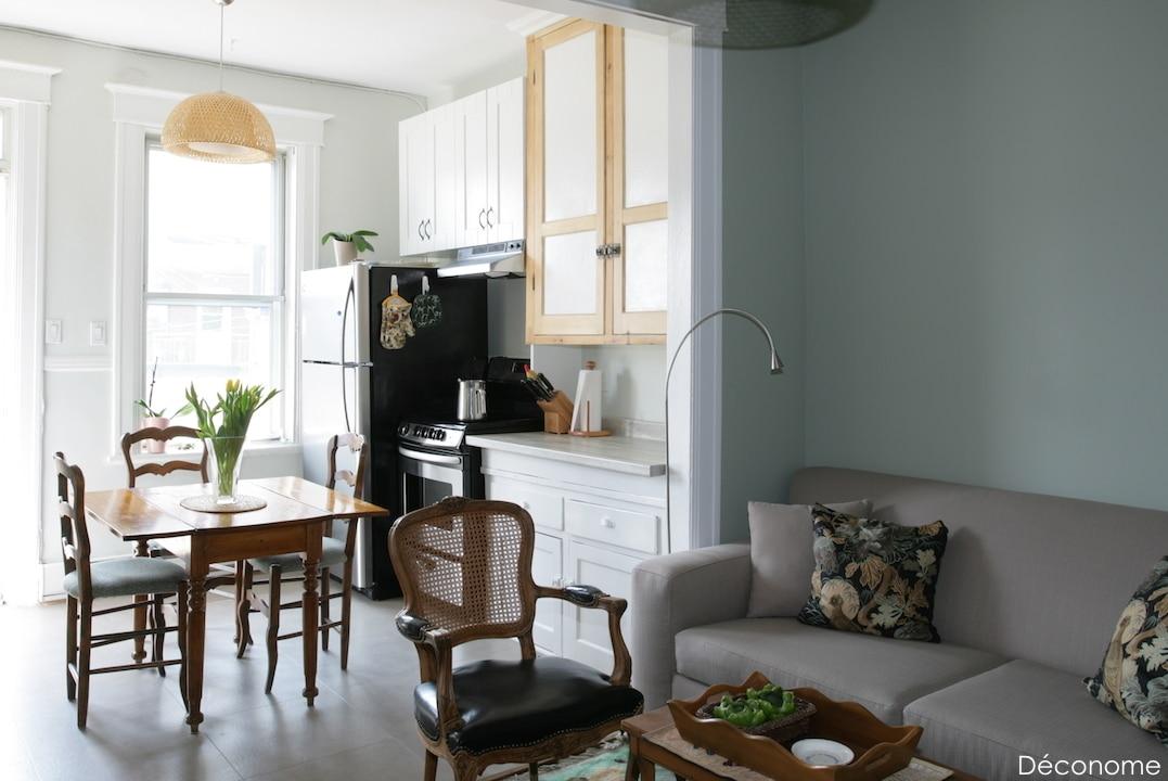 Rénovation appartement locatif sol vinyle texline armoires antiques et mur vert