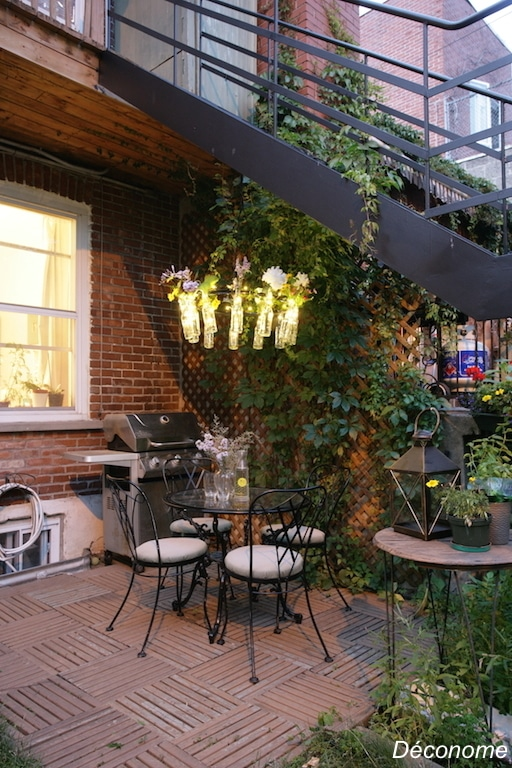 DIY roue de vélo transformée en lustre de jardin / How to transform a bike wheel into a garden chandelier