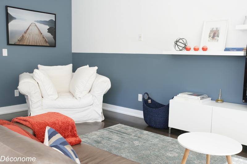 demi mur peint en bleu