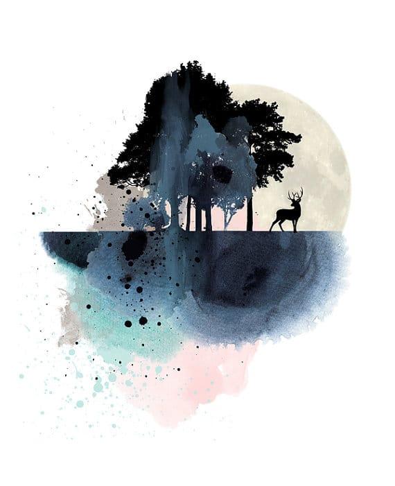 affiche aquarelle avec cerf