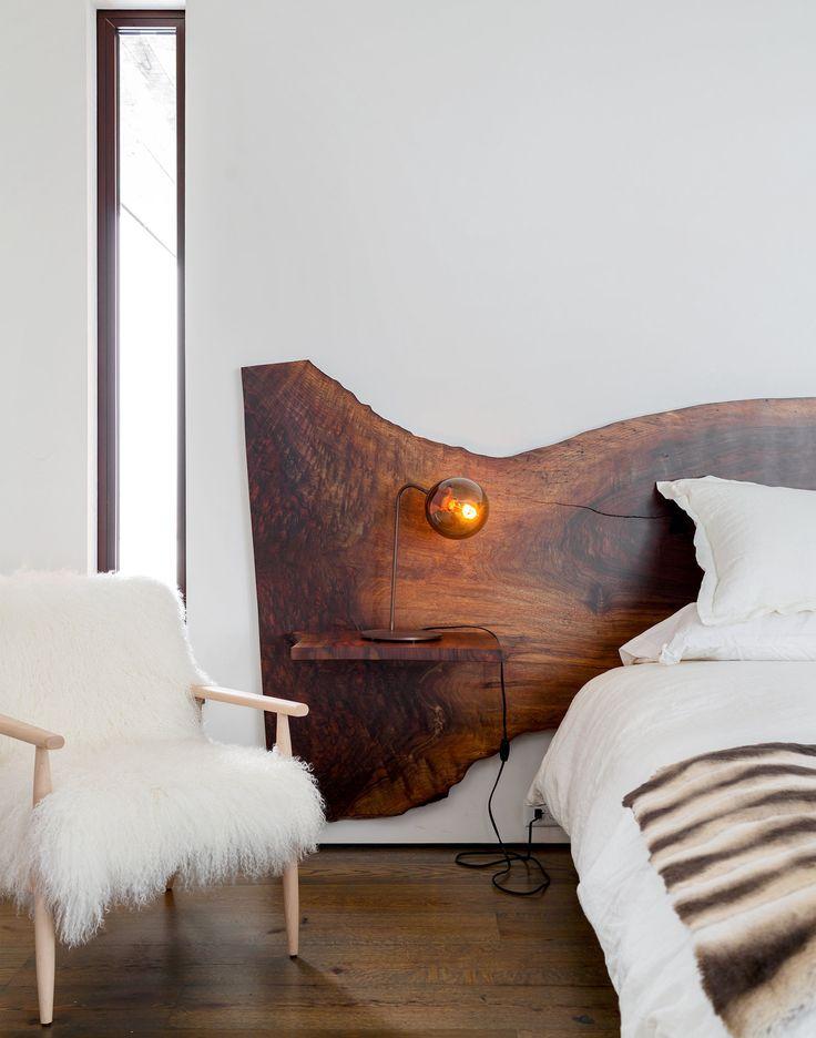 tête de lit en bois live edge