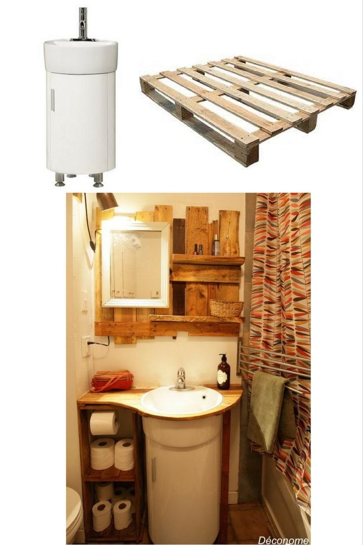 meuble lavabo rond entouré de rangement fabriqué en palette / DIY bathroom shelving with pallets