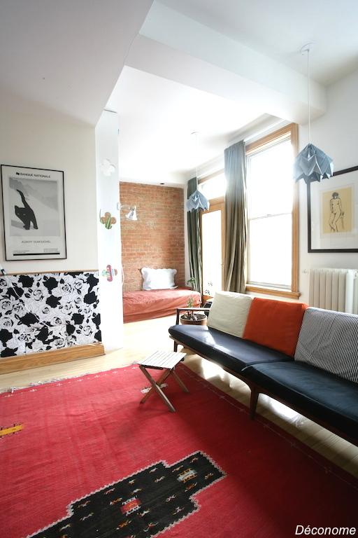 sofa en teck mid century et abat jours DIY en origami