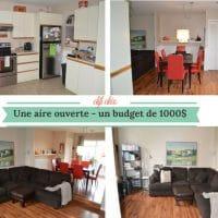 Avant / Après: 1000$ pour transformer salon, cuisine et salle à diner