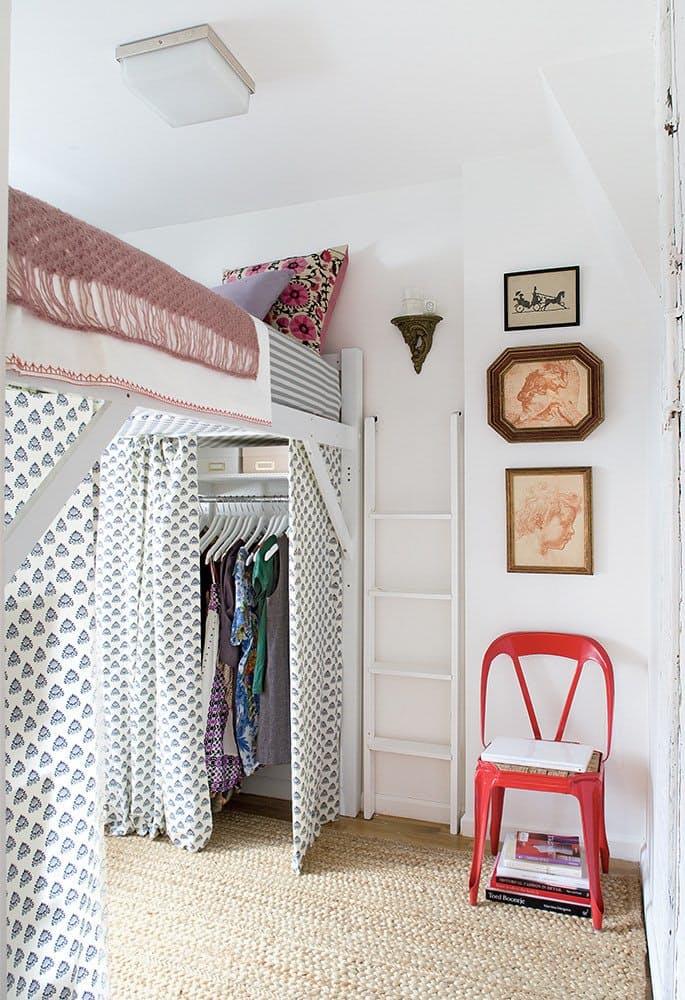 Les meilleures id es gain de place dans la chambre d conome - Lit mezzanine dressing ...