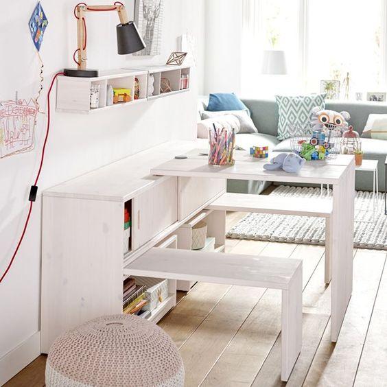 bibliothèque qui se transforme en table et banc