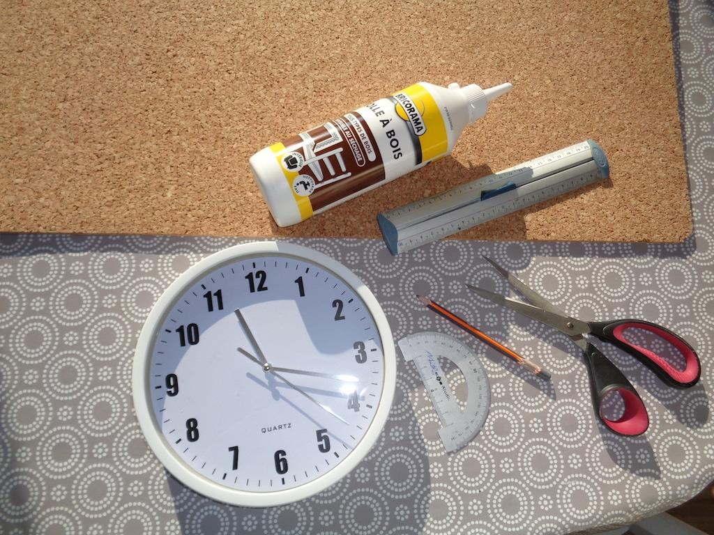 matériaux DIY horloge liège / Cork Clock