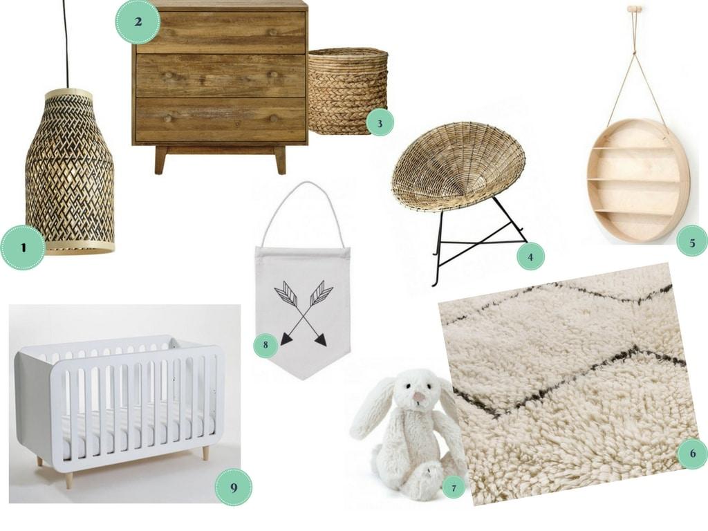 idées déco chambre de bébé bois et blanche shopping France