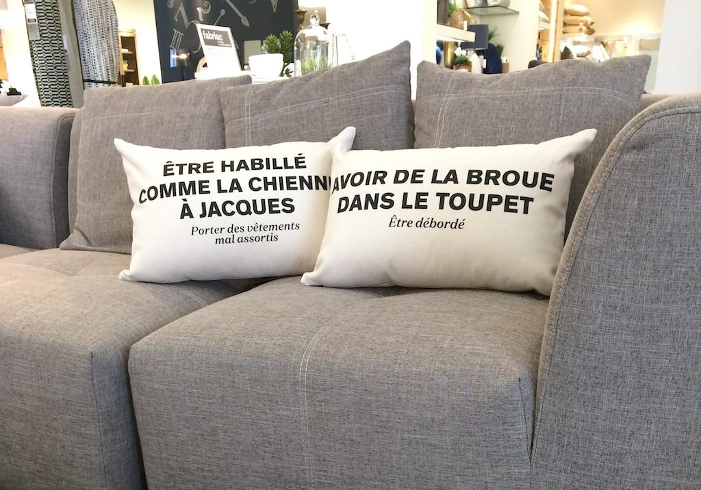 coussin phrase québecoise humour décoration