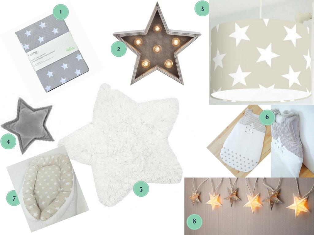 inspiration shopping déco pour une chambre de bébé unisexe sous le thème étoiles / nursery stars