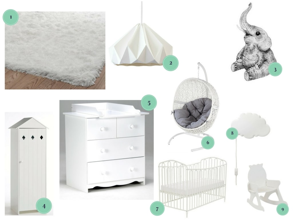 inspiration shopping chambre de bébé blanche unisexe / inspiration for a white nursery