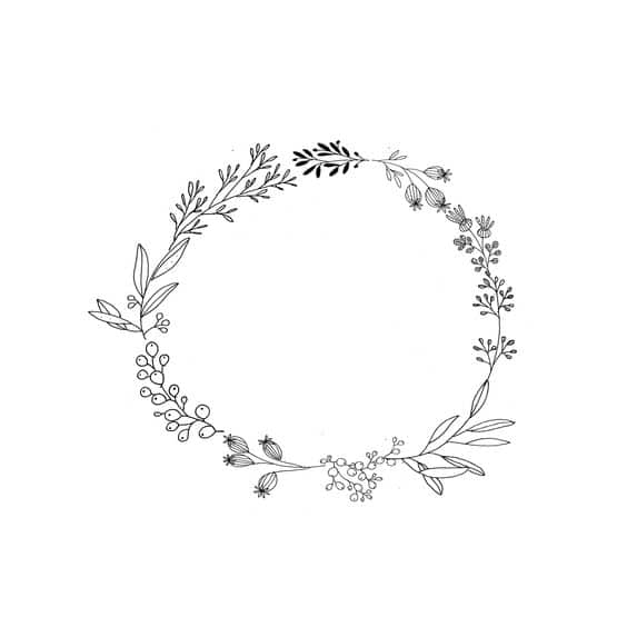 dessin facile à faire couronne en noir et blanc / DIY wreath illustration