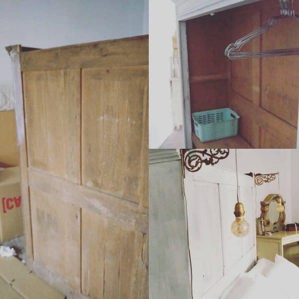 Ancien bahut transformé en tête de lit avec dressing en arrière