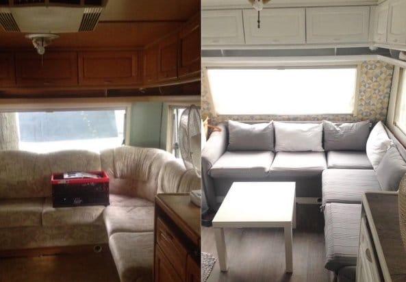 Avant après photo de camping car rénové