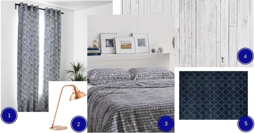 chambre indigo et bois blanchi