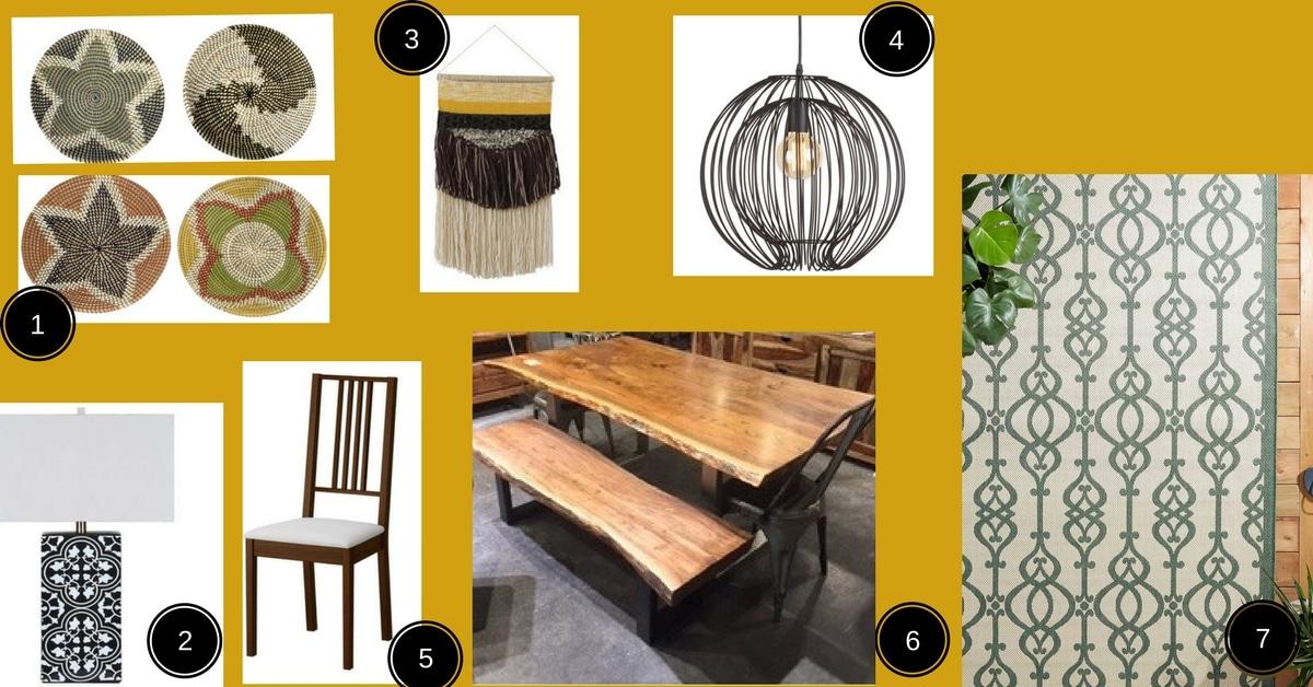 planche d'inspiration salle a manger exotique table en bois live edge et paniers africains suspendus