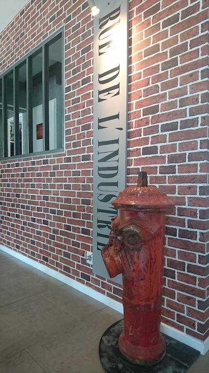 Déco avec borne d'incendie dans une salon style industriel