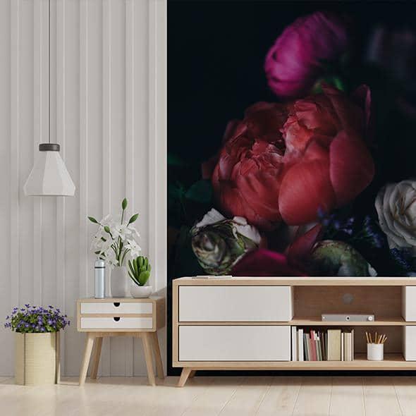 papier peint fleurs géantes